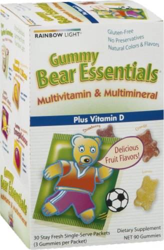Rainbow Light Gummy Bear Essentials Multivitamin & Multimineral Plus Vitamin D Gummies Packets Perspective: right