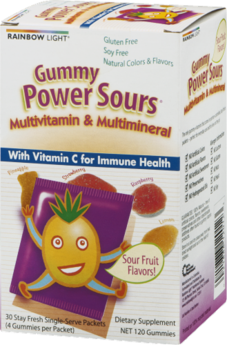 Rainbow Light Gummy Power Sours Multivitamin & Multimineral with Extra Vitamin C Gummies Packets Perspective: right