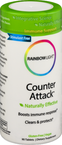 Rainbow Light Counter Attack Immune Support Health Herbal Supplement Tablets Perspective: right