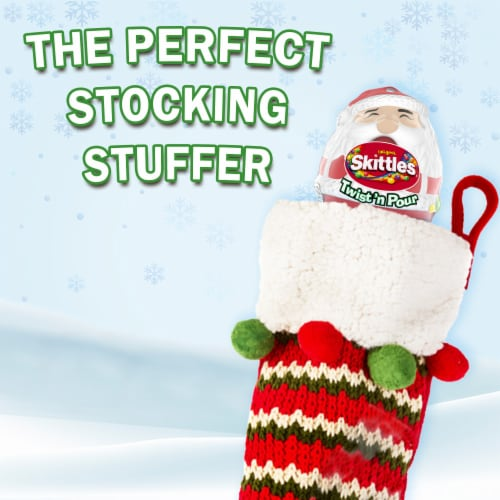 Skittles Original Twist 'n Pour Santa Christmas Candy Stocking Stuffers Perspective: right