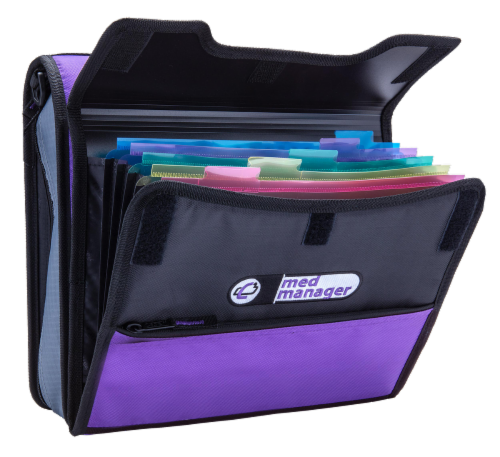 Med Manager Deluxe Medicine Organizer and Pill Case, Holds (15) Pill bottles, Purple Perspective: right
