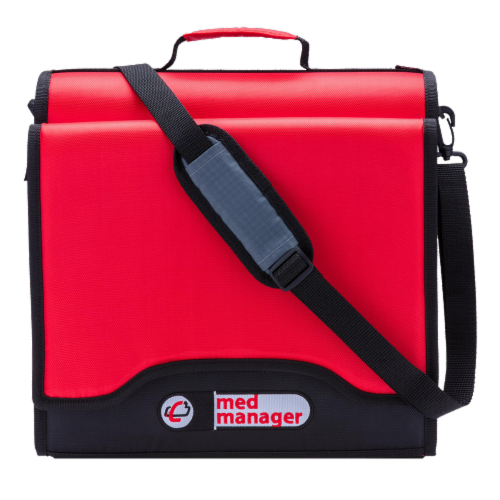 Med Manager XL Medicine Organizer and Pill Case, Holds (25) Pill Bottles, Red Perspective: right