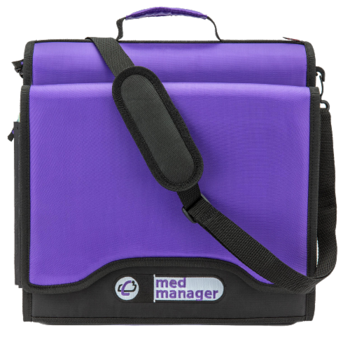 Med Manager XL Medicine Organizer and Pill Case, Holds (25) Pill Bottles, Purple Perspective: right