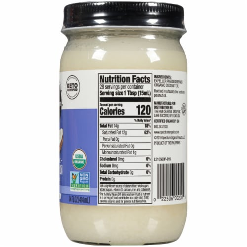 Spectrum Organic Refined Coconut Oil Perspective: right