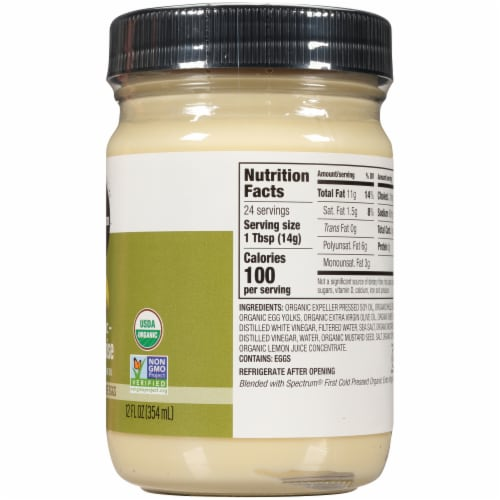Spectrum Organic Mayonnaise with Extra Virgin Olive Oil Perspective: right