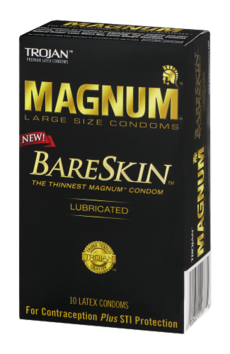 Trojan Magnum Bareskin Lubricated Large Size Condoms Perspective: right