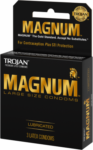 Trojan Magnum Large-Size Lubricated Condoms Perspective: right