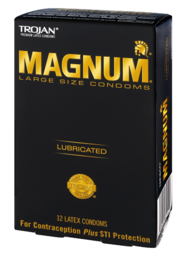 Trojan Magnum Lubricated Large Size Latex Condoms Perspective: right