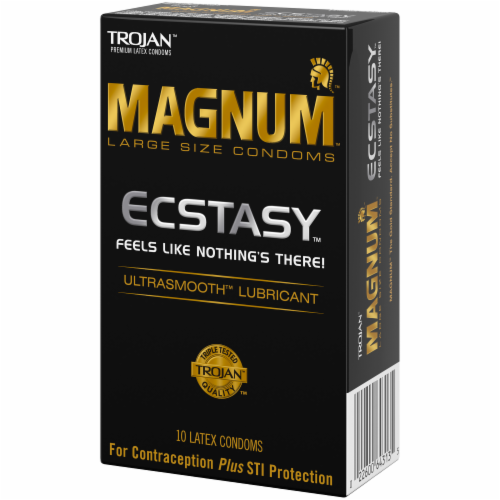Trojan Magnum Ecstasy Ultra Smooth Lubricated Large Size Latex Condoms 10 Count Perspective: right