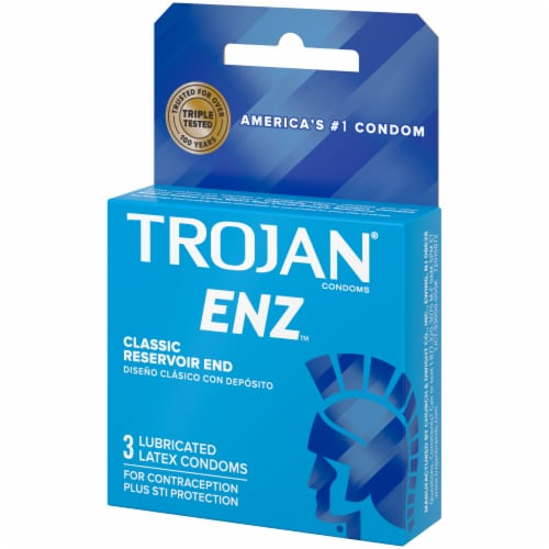 Trojan ENZ Classic Reservoir Tip Lubricated Latex Condoms Perspective: right