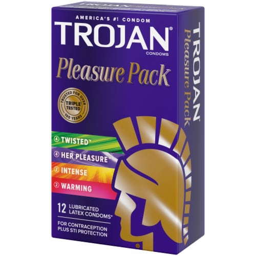 Trojan Pleasure Pack Lubricated Latex Condoms Variety Pack Perspective: right