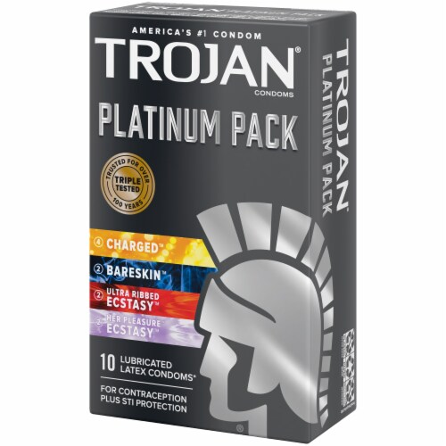 Trojan Platinum Pack Lubricated Latex Condoms Multipack Perspective: right