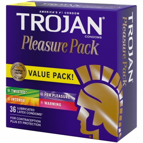 Trojan Pleasure Pack Lubricated Latex Condoms 36 Count Perspective: right