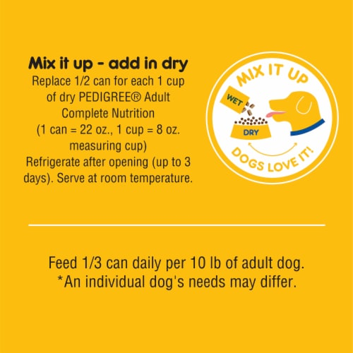 Pedigree Chopped Ground Dinner with Beef Wet Dog Food Perspective: right