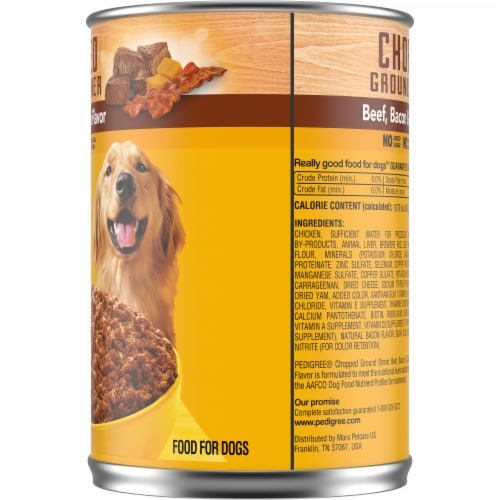 Pedigree Chunky Ground Dinner Beef Bacon & Cheese Flavor Wet Dog Food Perspective: right