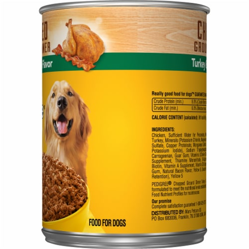 Pedigree Chopped Ground Dinner with Turkey & Bacon Flavor Wet Dog Food Perspective: right