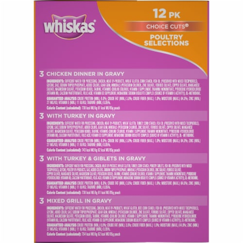 Whiskas Choice Cuts Poultry Selections Wet Cat Food Variety Pack Perspective: right