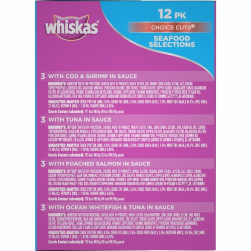 Whiskas Choice Cuts Seafood Selections Wet Cat Food Variety Pack Perspective: right