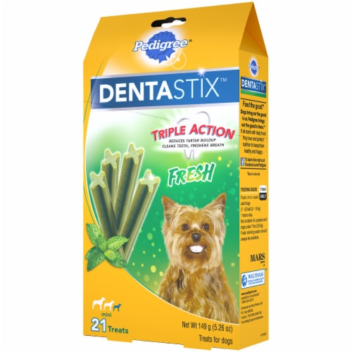 Pedigree DentaStix Triple Action Fresh Oral Care Treats for Small Dogs 21 Count Perspective: right