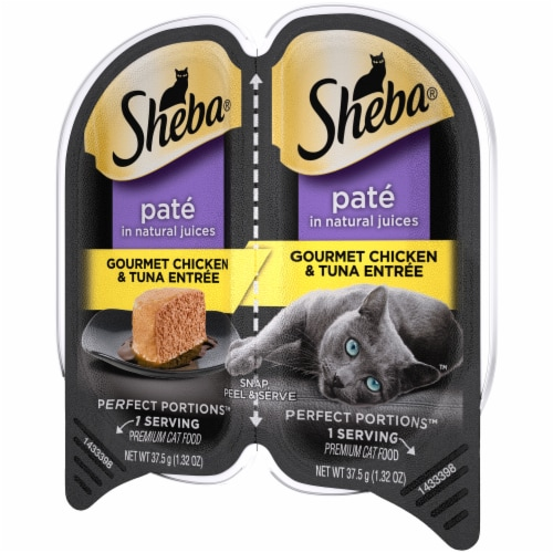 Sheba Perfect Portions Pate Gourmet Chicken & Tuna Entree Wet Cat Food Twin Pack Perspective: right