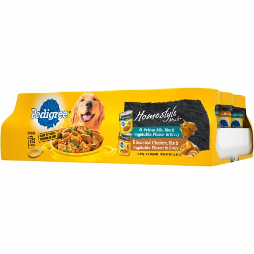 Pedigree Homestyle Meals Prime Rib and Roasted Chicken Wet Dog Food Variety Pack Perspective: right