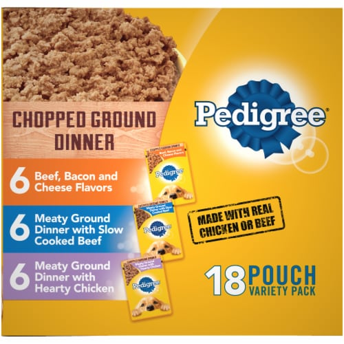 Pedigree Chopped Ground Dinner Wet Dog Food Variety Pack Perspective: right