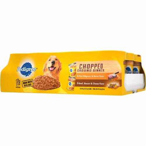 Pedigree Fliet Mignon & Bacon and Beef Bacon & Cheese Wet Dog Food Variety Pack Perspective: right