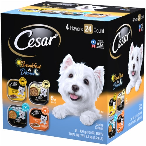 Cesar Canine Cuisine Breakfast & Dinner Wet Dog Food Variety Pack Perspective: right