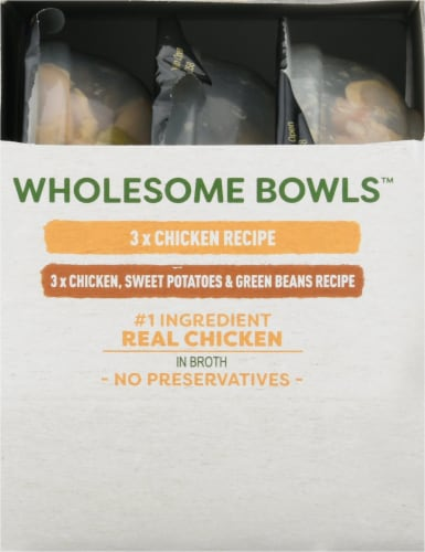 Cesar Wholesome Bowls Chicken Recipe and Chicken Sweet Potato & Green Beans Wet Dog Food Perspective: right