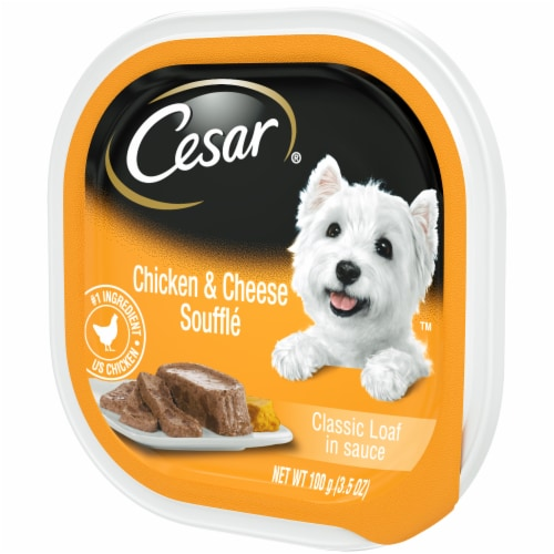 Cesar Sunrise Classic Loaf in Sauce Chicken & Cheese Souffle Flavor Wet Dog Food Perspective: right