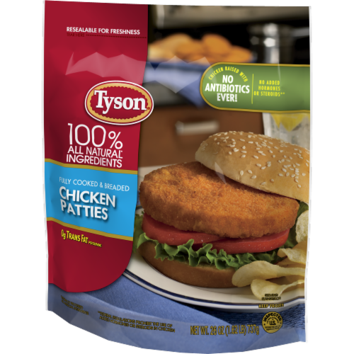 Tyson® Fully Cooked Chicken Patties Perspective: right