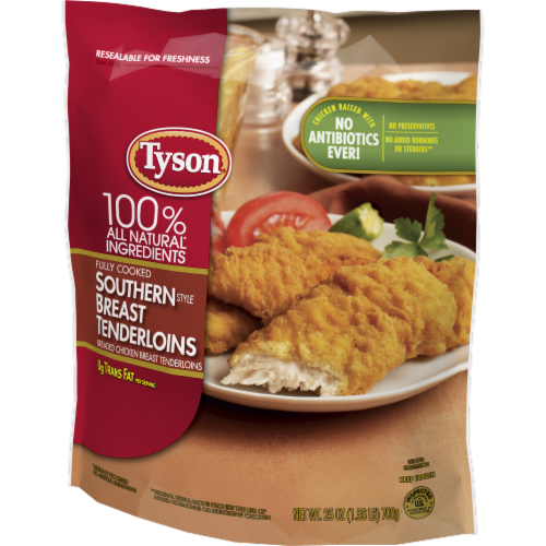 Tyson® Fully Cooked Southern Style Breaded Chicken Breast Tenderloins Perspective: right