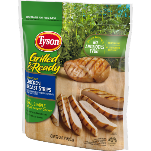 Tyson Grilled & Ready Fully Cooked Grilled Chicken Breast Strips Perspective: right