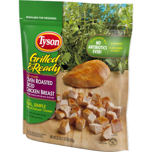 Tyson® Grilled & Ready® Fully Cooked Oven Roasted Diced Chicken Breast Perspective: right