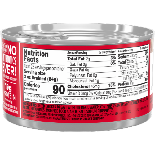 Tyson Premium Chunk White Chicken Breast in Water Perspective: right