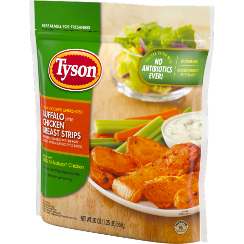 Tyson Fully Cooked Unbreaded Buffalo Style Chicken Breast Strips Perspective: right
