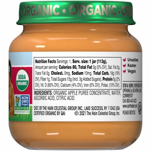 Earth's Best Organic Apples Stage 2 Baby Food Perspective: right