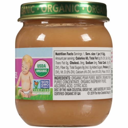 Earth's Best Organic Pears & Raspberries Stage 2 Baby Food Perspective: right