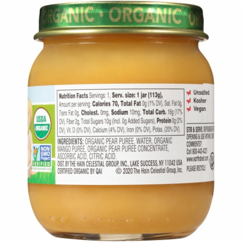 Earth's Best Organic Pears & Mangos Stage 2 Baby Food Perspective: right
