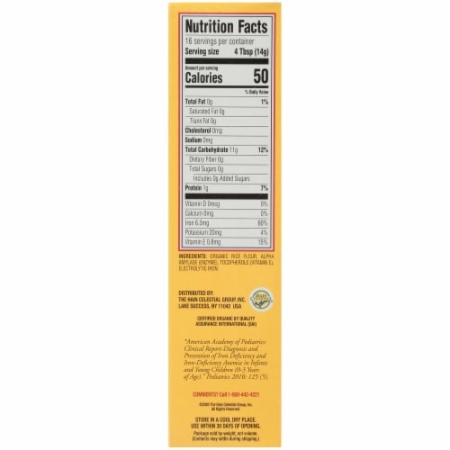 Earth's Best Organic Whole Grain Rice Cereal Baby Food Perspective: right