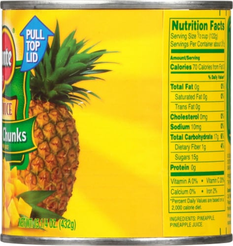 Del Monte® Pineapple Chunks in 100% Juice Perspective: right