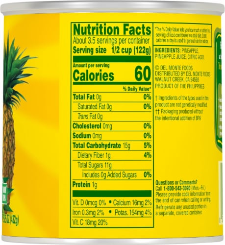 Del Monte® Pineapple Tidbits in 100% Juice Perspective: right