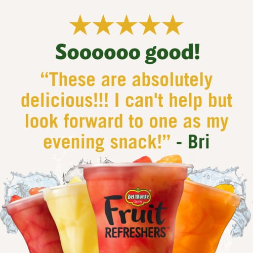 Del Monte Fruit Refreshers Grapefruit & Oranges in Pomegranate Fruit Water Fruit Cups Perspective: right