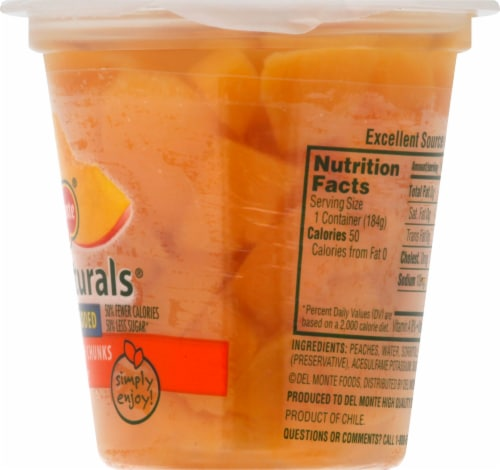 Del Monte Fruit Naturals No Sugar Added Yellow Cling Peach Chunks Fruit Cup Perspective: right