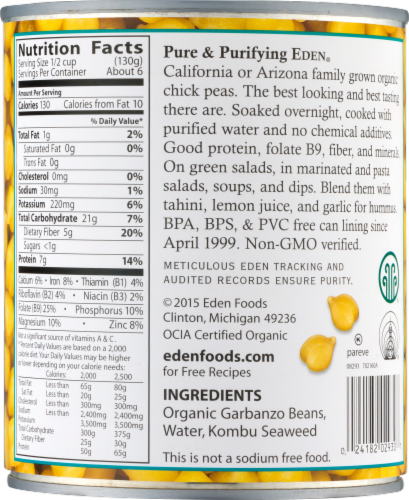 Eden Organic Garbanzo Beans Perspective: right