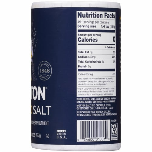 Morton Iodized Salt Perspective: right
