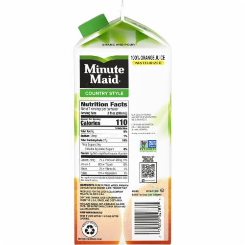 Minute Maid Country Style Medium Pulp Orange Juice Perspective: right