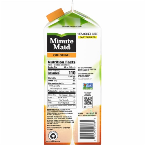 Minute Maid Original Low Pulp 100% Orange Juice Perspective: right