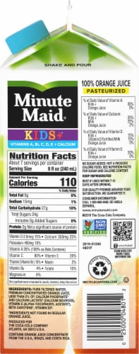 Minute Maid Pulp Free Kids+ Calcium 100% Orange Juice Perspective: right