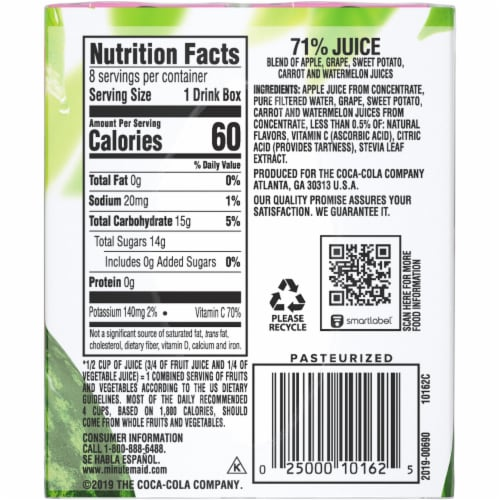 Minute Maid Fruit & Veggie Watermelon Blend Juice Boxes Perspective: right